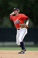 Atlanta Braves infielder Omar Obregon (13) during an Instructional League game against the Houston Astros on September 22, 2014 at the ESPN Wide World of Sports Complex in Kissimmee, Florida.  (Mike Janes/Four Seam Images)