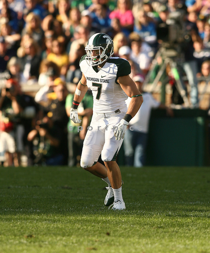 KEITH NICHOL, of the Michigan State Spartans, in action during Michigan States game against Notre Dame on September 17, 2011 at Notre Dame Stadium in South Bend, IN. Notre Dame beat Michigan State 31-13.