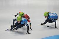 SHORTTRACK: DORDRECHT: Sportboulevard Dordrecht, 24-01-2015, ISU EK Shorttrack, Ekaterina KONSTANTINOVA (RUS | #146), Bernadett HEIDUM (HUN | #124), Evgeniya ZAKHAROVA (RUS | #150), ©foto Martin de Jong
