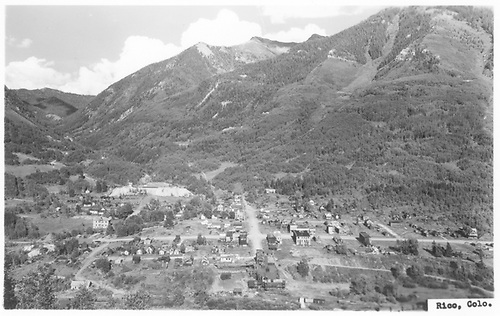 A west facing view of Rico with the Pro Patria Mill in the foreground as seen from high on the east side.<br /> RGS  Rico, CO