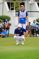 Paul Casey (Europe) on the 18th green during the Singles Matches of the Eurasia Cup at Glenmarie Golf and Country Club on the Sunday 14th January 2018.<br /> Picture:  Thos Caffrey / www.golffile.ie