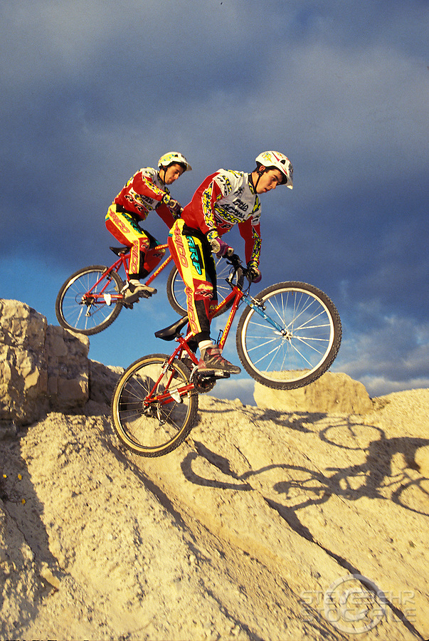 Martyn Ashton and Martin Hawyes doing dropoff in quarry in dorset , 1993 <br /> pic copyright Steve Behr / Stockfile
