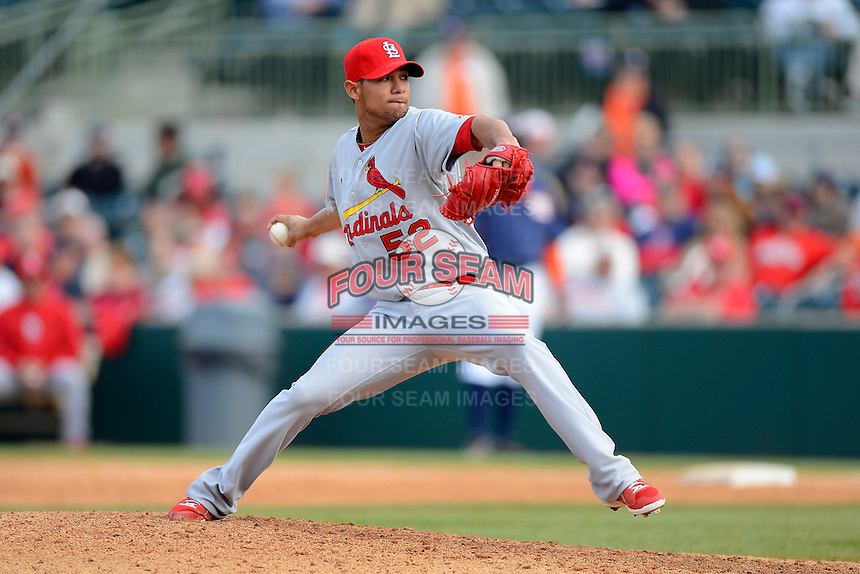 St. Louis Cardinals pitcher Eduardo Sanchez #52 during a Spring Training game against the Houston Astros at Osceola County Stadium on March 1, 2013 in Kissimmee, Florida.  The game ended in a tie at 8-8.  (Mike Janes/Four Seam Images)