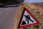 A792T6 Road sign on country laneMen at Work