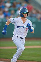 Andrew Shaps (14) of the Ogden Raptors hustles to first base against the Missoula Osprey at Lindquist Field on August 12, 2019 in Ogden, Utah. The Raptors defeated the Osprey 4-3. (Stephen Smith/Four Seam Images)