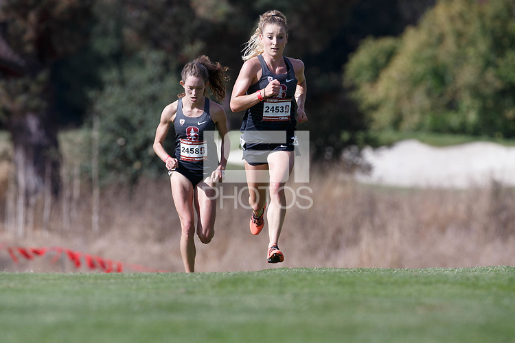 Stanford, CA - September 29, 2018: Elise Cranny and <br /> Fiona O'Keeffe during the Stanford Cross Country Invitational held Saturday morning on the Stanford Golf course.