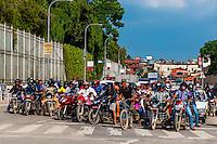 Two wheeled traffic waiting for a light to change, Kathmandu, Nepal.