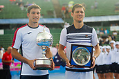 12th January 2018,  Kooyong Lawn Tennis Club, Kooyong, Melbourne, Australia; Priceline Pharmacy Kooyong Classic tennis tournament; Pablo Carreno Busta of Spain and Matt Ebden of Australia show off their trophies after the Kooyong Classic final