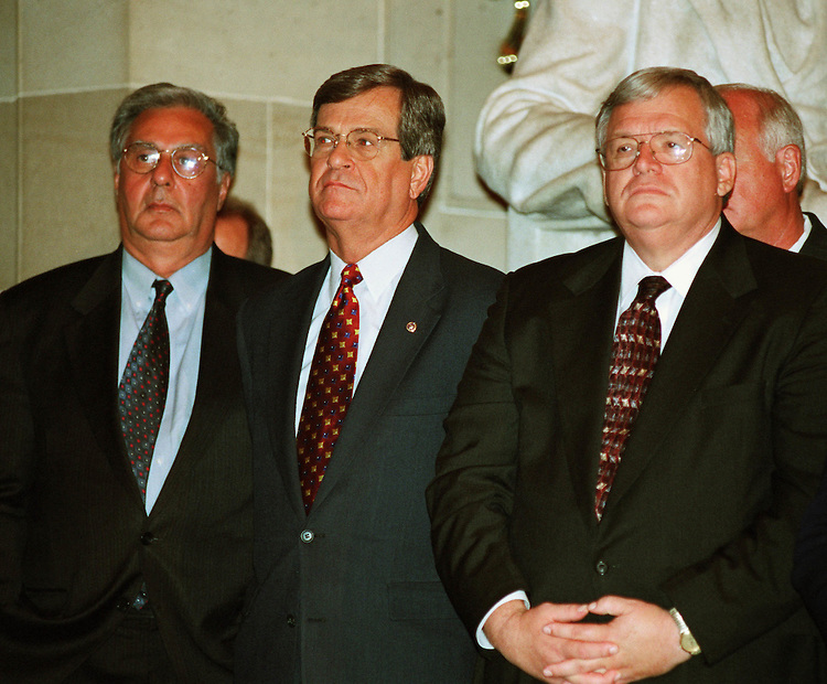 11/15/00.GINGRICH PORTRAIT--House Majority Leader Dick Armey, R-Texas, Senate Majority Leader Trent Lott, R-Miss., and House Speaker J. Dennis Hastert, R-Ill., listen to former House Speaker Newt Gingrich, R-Ga., speak during the unveiling ceremony in Statuary Hall for Gingrich's portrait..CONGRESSIONAL QUARTERLY PHOTO BY SCOTT J. FERRELL