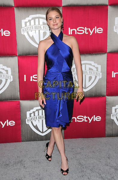 EMILY VanCAMP.The 10th Annual Instyle & WB Golden Globes After Party held at Oasis Court in The Beverly Hilton Hotel in Beverly Hills, California, USA..January 11th, 2009                                                                                                                                 .full length blue halterneck silk satin dress ruffled ruffles .CAP/DVS.©Debbie VanStory/Capital Pictures.