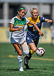 1 September 2019: University of Vermont Catamount Forward/Midfielder Alyssa Oviedo, a Sophomore from Clifton, NJ, battles Merrimack College Warrior Defender Meghan Blanchette, a Sophomore from Weare, NH, in Game 3 of the TD Bank Women's Soccer Classic at Virtue Field in Burlington, Vermont. The Lady Warriors rallied in the second half to defeat the Catamounts 2-1. Mandatory Credit: Ed Wolfstein Photo *** RAW (NEF) Image File Available ***