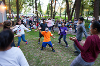 Dancing to the music, Arts A Glow Festival, Dottie Harper Park, Burien, Washington State, WA, America, USA.