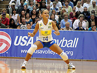 June 13, 2008 - Colorado Springs, CO...Brazil's Fabiana de Oliveira during Women's Olympic Exhibition Volleyball action between Brazil and the USA.  Brazil is currently the world's top ranked team going into the Olympics later this summer.  Team USA is currently ranked 4th...Team USA upsets top ranked Brazil 3-2 in the second of a three-match exhibition series at the U.S. Olympic Training Center in Colorado Springs, Colorado...Larry Clouse/CSM....