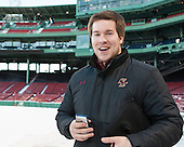 Kevin Pratt (BC - Student Manager) -  - The participating teams in Hockey East's first doubleheader during Frozen Fenway practiced on January 3, 2014 at Fenway Park in Boston, Massachusetts.