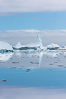 Ice Formation and Reflecting Sky near Pleneau Island, Antarctica