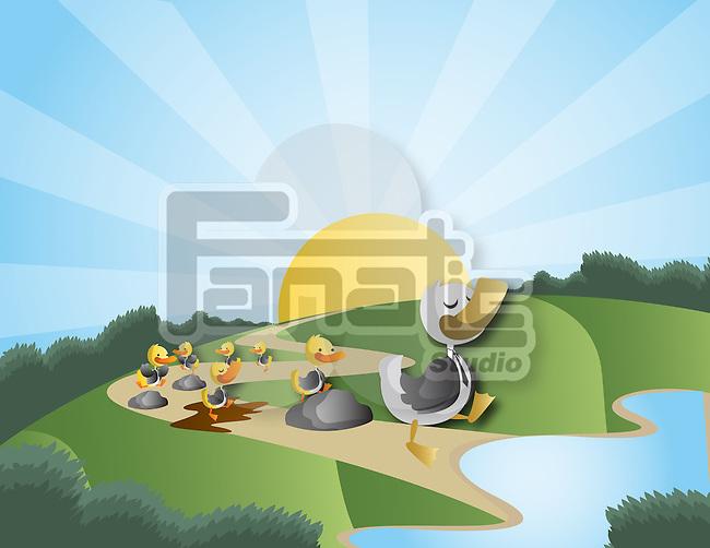 Little chicks following the duck