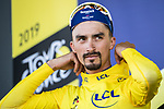 Race leader Julian Alaphilippe (FRA) Deceuninck-Quick Step retains the Yellow Jersey at the end of Stage 4 of the 2019 Tour de France running 213.5km from Reims to Nancy, France. 9th July 2019.<br /> Picture: ASO/Alex Broadway | Cyclefile<br /> All photos usage must carry mandatory copyright credit (© Cyclefile | ASO/Alex Broadway)