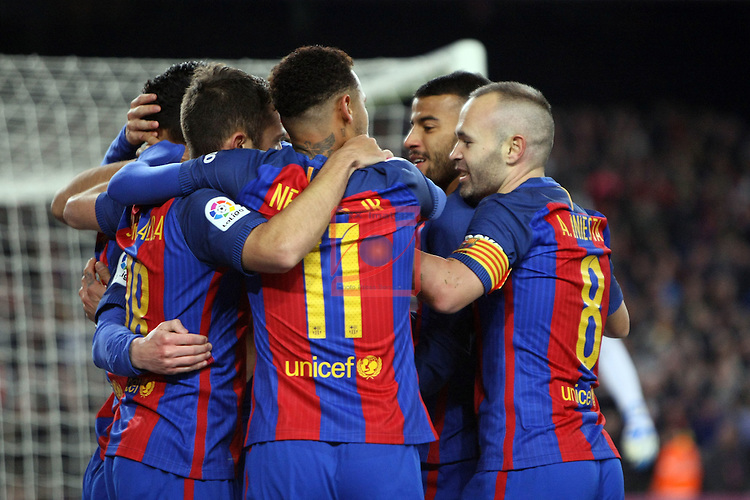 League Santander 2016/2017. Game: 16.<br /> FC Barcelona vs RCD Espanyol: 4-1.<br /> Luis Suarez, Lionel Messi, Jordi Alba, Andres Iniesta &amp; Neymar Jr.