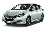 2018 Nissan Leaf N Connecta 5 Door Hatchback angular front stock photos of front three quarter view