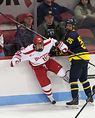Gabriel Chabot (BU - 10), Sami Tavernier (Merrimack - 25) - The visiting Merrimack College Warriors defeated the Boston University Terriers 4-1 to complete a regular season sweep on Friday, January 27, 2017, at Agganis Arena in Boston, Massachusetts.The visiting Merrimack College Warriors defeated the Boston University Terriers 4-1 to complete a regular season sweep on Friday, January 27, 2017, at Agganis Arena in Boston, Massachusetts.