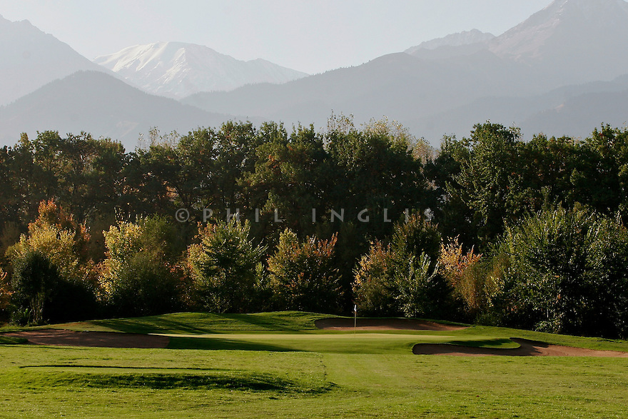 A general view looking towards the Tien Shen mountains and the 5th hole Par 3 Nurtau Golf Club, Almaty, Kazakhstan. Picture Credit/Phil Inglis