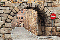 Stone arch and cobble stone street , Segovia, Spain