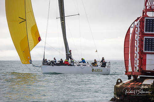 Chris & Patanne Power Smith's line honours winner, the J/122 Aurelia, finally finds an encouraging breeze