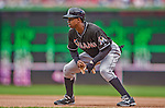 22 September 2013: Miami Marlins outfielder Juan Pierre in action against the Washington Nationals at Nationals Park in Washington, DC. The Marlins defeated the Nationals 4-2 in the first game of their day/night double-header. Mandatory Credit: Ed Wolfstein Photo *** RAW (NEF) Image File Available ***