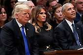 President Donald Trump, first lady Melania Trump and former President Barack Obama listen as former Canadian Prime Minister Brian Mulroney speaks during a State Funeral at the National Cathedral, Wednesday, Dec. 5, 2018, in Washington, for former President George H.W. Bush.<br /> Credit: Alex Brandon / Pool via CNP