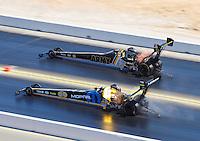 Jul 31, 2016; Sonoma, CA, USA; NHRA top fuel driver Leah Pritchett (near) races alongside teammate Tony Schumacher during the Sonoma Nationals at Sonoma Raceway. Mandatory Credit: Mark J. Rebilas-USA TODAY Sports