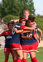 Boyds, MD - Saturday July 09, 2016: Victoria Huster, Cali Farquharson, Estefania Banini celebrates scoring, Christine Nairn during a regular season National Women's Soccer League (NWSL) match between the Washington Spirit and the Chicago Red Stars at Maureen Hendricks Field, Maryland SoccerPlex.