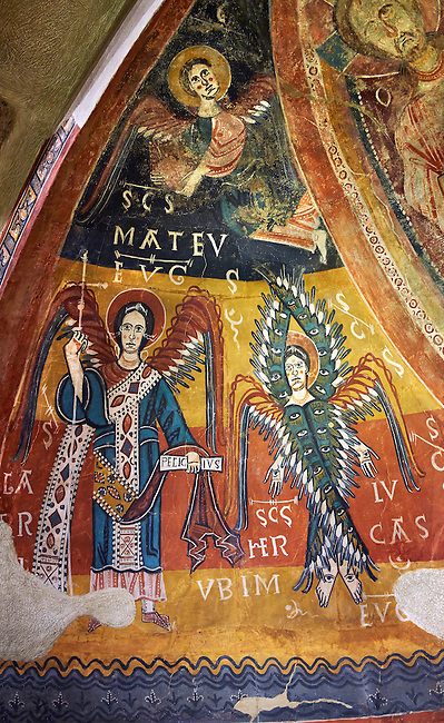 Twelfth century Romanesque frescoes of the Apse of Estaon depicting a Byzantine style angels with Archangel Gabriel,  from the church of Sant Eulalia d'Estaon, Vall de Cardos, Catalonia, Spain. National Art Museum of Catalonia, Barcelona. MNAC 15969