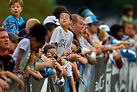 Fans of all ages came out to watch the Carolina Panthers practice during the teams 2010 training camp, held July 28 to August 18 at Wofford College in Spartanburg, South Carolina. The NFC's Carolina Panthers, who play at the Bank of America Stadium in downtown Charlotte, begin their regular 2010 season on September 12, 2010.