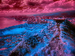 Waikiki from Diamond Head Summit (Infrared) ©2017 James D Peterson.  Hawaii's largest city becomes an imaginary future civilization in the altered colors of this infrared image.