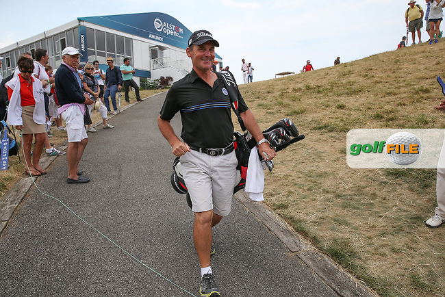 Cliff the caddie of Maximilian Kieffer (GER) heads to the first tee to start the Final Round of the 2015 Alstom Open de France, played at Le Golf National, Saint-Quentin-En-Yvelines, Paris, France. /05/07/2015/. Picture: Golffile | David Lloyd<br /> <br /> All photos usage must carry mandatory copyright credit (&copy; Golffile | David Lloyd)