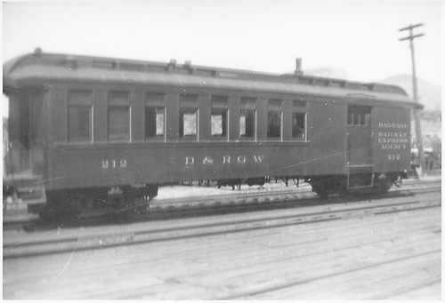 #212 baggage &amp; coach combine at Durango.<br /> D&amp;RGW  Durango, CO