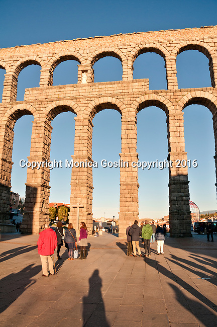 The Roman aqueduct in Segovia Spain runs right through the city of Segovia, Spain
