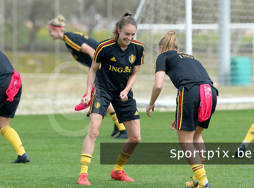 20180306 - LARNACA , CYPRUS :  Belgian Tessa Wullaert (left) pictured during a Matchday -1 training from The Belgian Red Flames prior to their game against South Africa , on tuesday 6 March 2018 at the Alpha Sports Grounds in Larnaca , Cyprus . This will be the final game for Belgium during the Cyprus Womens Cup for a battle for the 5th place , a prestigious women soccer tournament as a preparation on the World Cup 2019 qualification duels. PHOTO SPORTPIX.BE | DAVID CATRY