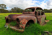 Rusted Car in a field near Duck Lagoon on Kangaroo Island, South Australia, Australia.