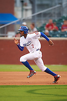Chattanooga Lookouts outfielder Byron Buxton (7) steals second during a game against the Jacksonville Suns on April 30, 2015 at AT&T Field in Chattanooga, Tennessee.  Jacksonville defeated Chattanooga 6-4.  (Mike Janes/Four Seam Images)