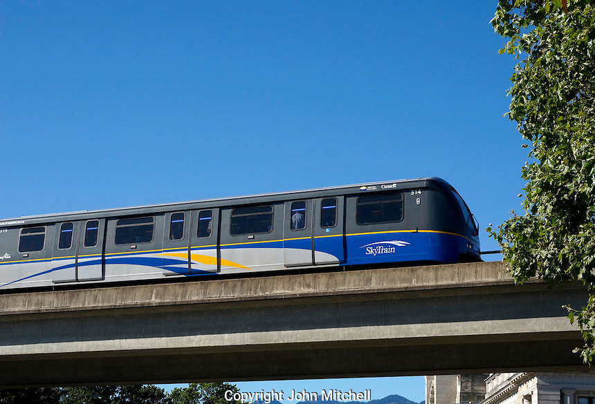 The Skytrain elevated light rapid transit system in Vancouver, BC, Canada
