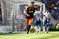 2nd November 2019; RCDE Stadium, Barcelona, Catalonia, Spain;La Liga Football, Real Club Deportiu Espanyol de Barcelona versus Club de Futbol Valencia;  Gomez celebrates after scoring the winning goal for 1-2 in the 80th minute - Editorial Use