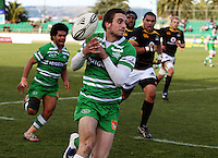 Manawatu winger Andre Taylor loses the ball during the Air NZ Cup preseason match between Manawatu Turbos and Wellington Lions at FMG Stadium, Palmerston North, New Zealand on Friday, 17 July 2009. Photo: Dave Lintott / lintottphoto.co.nz