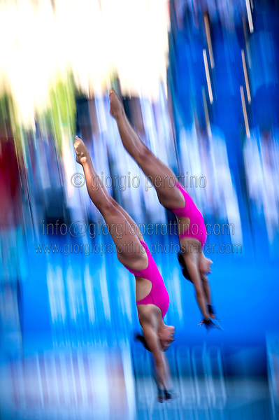 Zsofia Reisinger and Gyongyver Villo Kormos HUN<br /> Women's 10m synchro platform<br /> 15th FINA World Aquatics Championships<br /> Barcelona 19 July - 4 August 2013<br /> Barcelona (Spain) 22/07/2013 <br /> © Giorgio Perottino