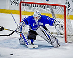29 December 2018: University of Alabama Huntsville Charger Goaltender Jake Theut, a Senior from Washington, MI, makes a third period save against the Northeastern University Huskies at Gutterson Fieldhouse in Burlington, Vermont. The Huskies shut out the Chargers 2-0 in the Catamount Cup tournament at the University of Vermont. Mandatory Credit: Ed Wolfstein Photo *** RAW (NEF) Image File Available ***