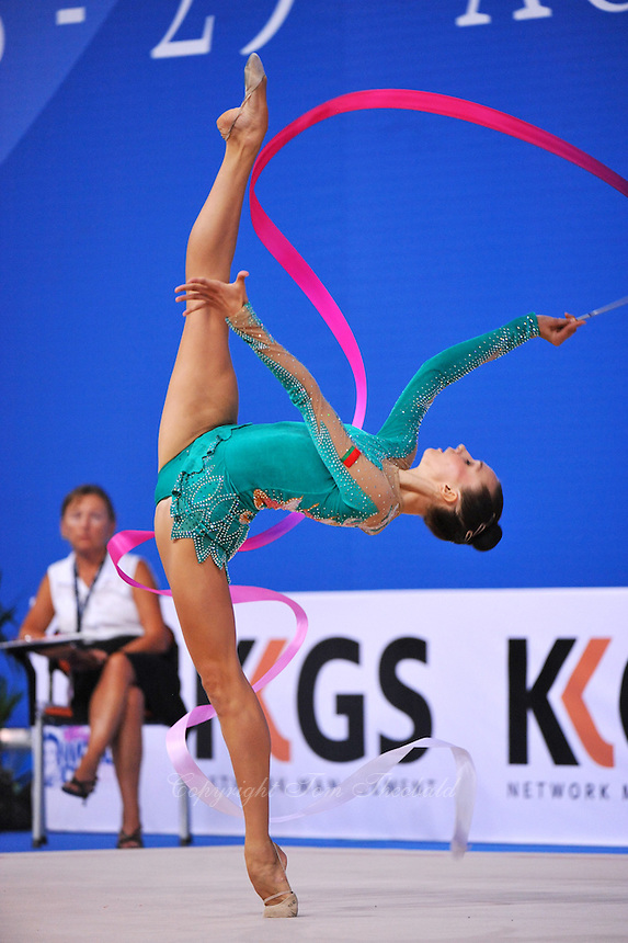 Liubov Charkashyna of Belarus performs balance with ribbon at 2010 Pesaro World Cup on August 29, 2010 at Pesaro, Italy.  Photo by Tom Theobald.