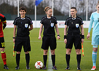 20171125 - TUBIZE , BELGIUM : Belgian Referees Lois Otte (M) with assistant referee Ella De Vries (r) and Berengere Pierart (l) pictured during the friendly female soccer game between the Belgian Red Flames and Russia , Saturday 25 th November 2017 at the Belgian FA Euro 2000 Center in Tubize , Belgium. PHOTO SPORTPIX.BE | DAVID CATRY