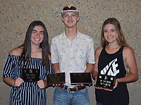 RICK PECK/SPECIAL TO MCDONALD COUNTY PRESS<br /> Archery Awards for 2019 - From left to right: Jackie Grider (Most Improved), Blaine Lemm (Mustang Archer and Four-Year Commitment) and Bailey McAlister (Top Shot Female). Not present: Knox Nichols (Top Shot Male) and Levi Helm (Best Recruit).