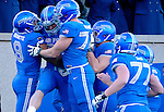 November 7, 2015 - Colorado Springs, Colorado, U.S. - Air Force players celebrate a Garrett Griffin #80 touchdown during the NCAA Football game between the Army Black Knights and the Air Force Academy Falcons at Falcon Stadium, U.S. Air Force Academy, Colorado Springs, Colorado.  Air Force defeats Army 20-3.