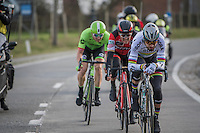 World Champion Peter Sagan (SVK/Bora-Hansgrohe) leading the formidable  breakaway trio (including Greg Van Avermaet &amp; Sep Vanmarcke)<br /> <br /> 72nd Omloop Het Nieuwsblad 2017